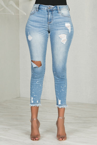 Frayed Crop Skinny Jeans