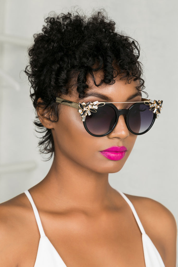 Glam Girl Sunglasses (Black/Gold)