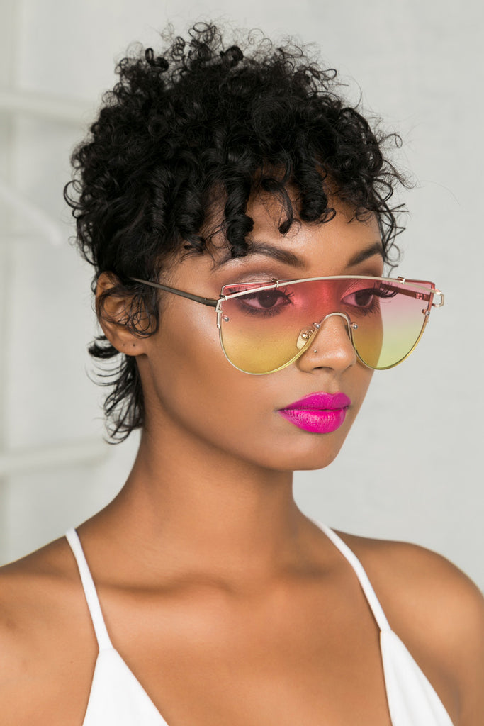 Too Fly Sunglasses (Pink/Yellow)