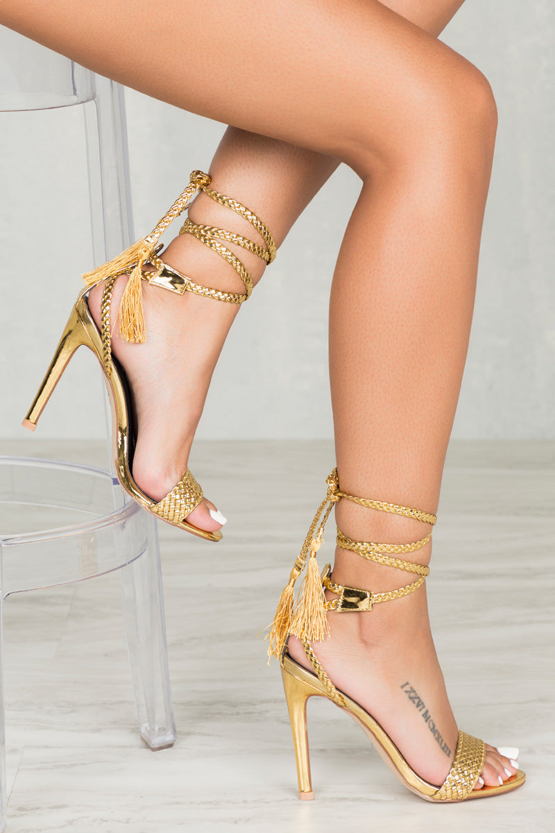 Suzzy Lace Up Heel (Gold)