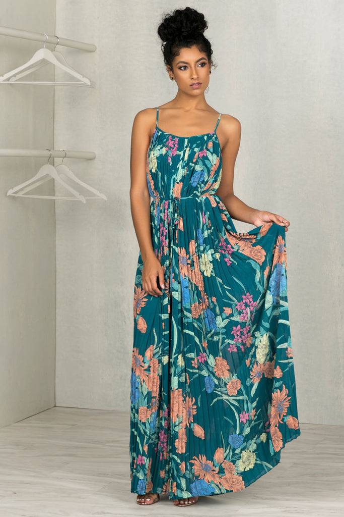 Pleated Floral Maxi Dress- FINAL SALE