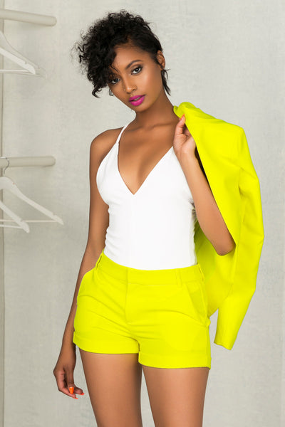Neon Yellow Suit Shorts- FINAL SALE