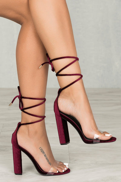 Wicked Lace Up Block Heel (Velvet Wine)