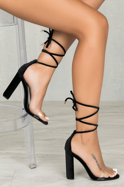 Wicked Lace Up Block Heel (Black Velvet)