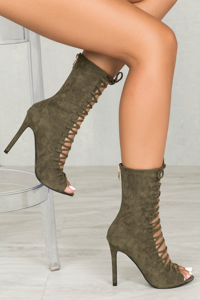 Kassy Lace Up Bootie (Olive)