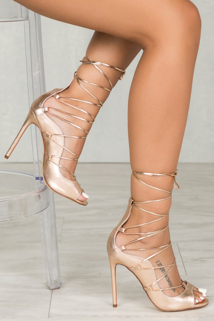 Queen Lace Up (Metallic Rose Gold)
