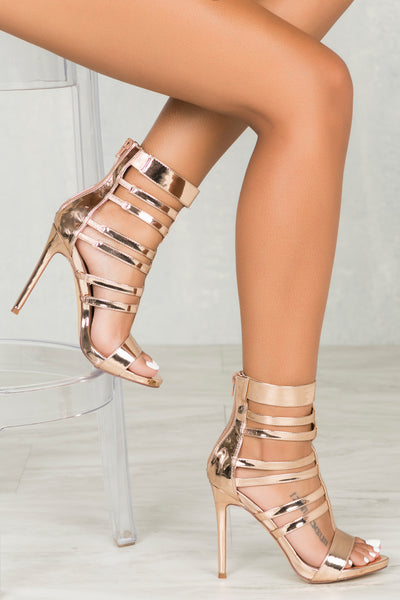 Valery Caged Heel (Rose Gold)- FINAL SALE