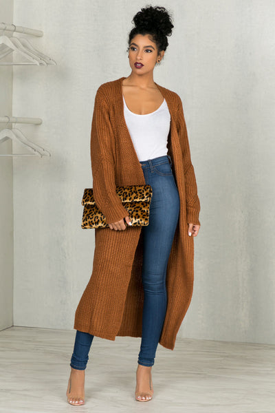 Cozy Up Cardigan (Rust Brown)