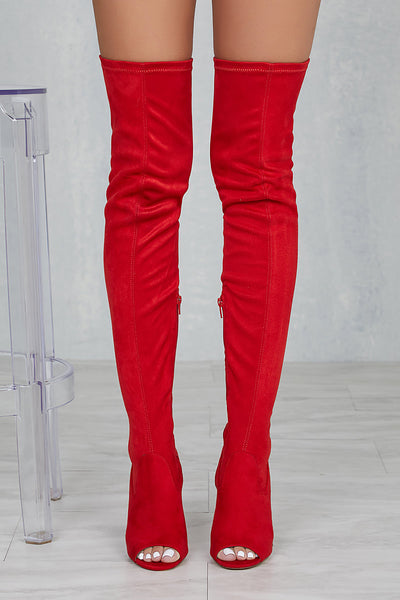 Lori Thigh High Peep Toe Boot (Red)