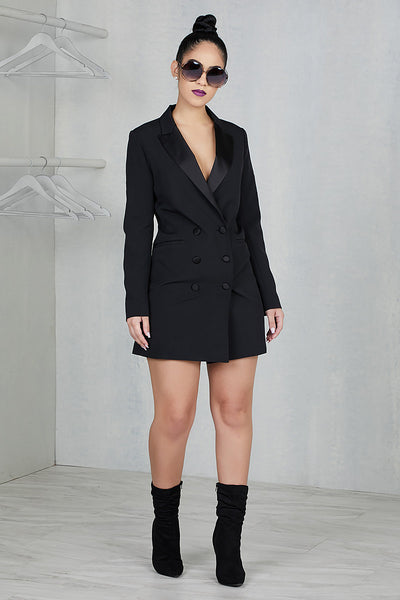 Tuxedo Blazer Dress (Black)