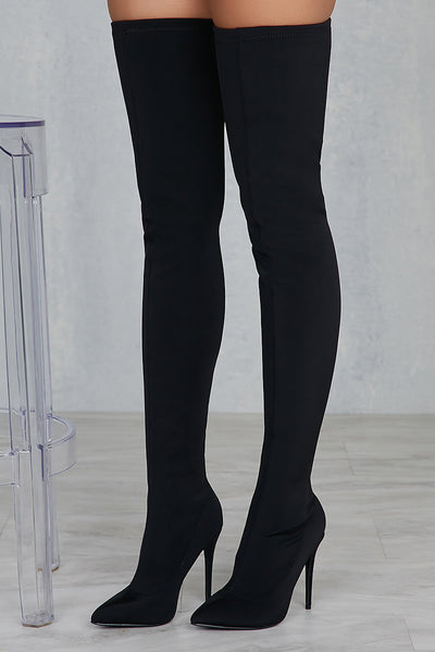Carree Thigh High Boots (Black)