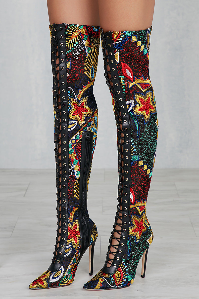 Privileged Fonesca Multi Color Thigh High Boots
