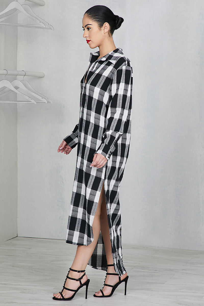 Chill Out Flannel Dress- FINAL SALE