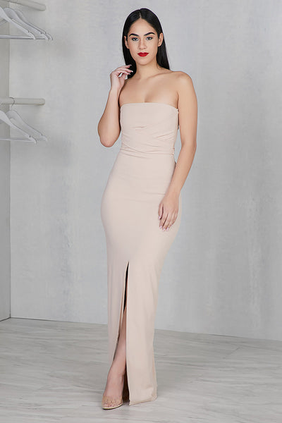 Strapless Long Nude Dress