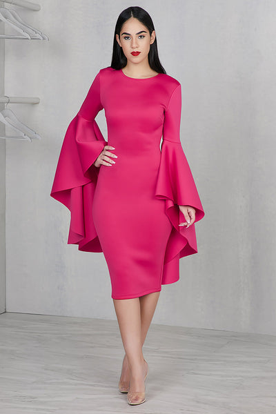 Statement Sleeves Dress (Hot Pink)