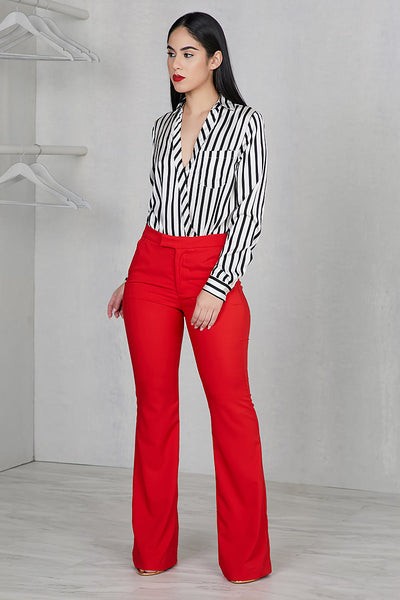 High Waist Wide Leg Pants (Red)