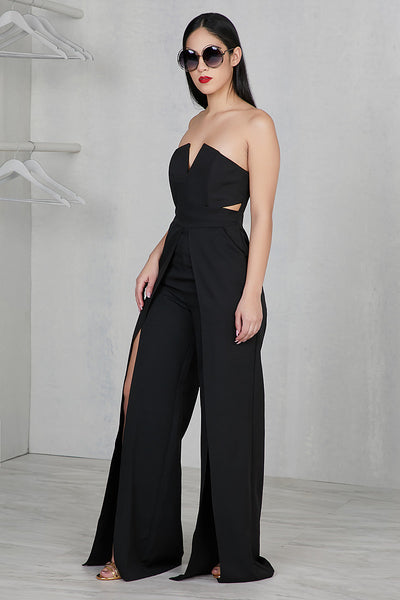 Strapless Sweetheart Jumpsuit (Black)
