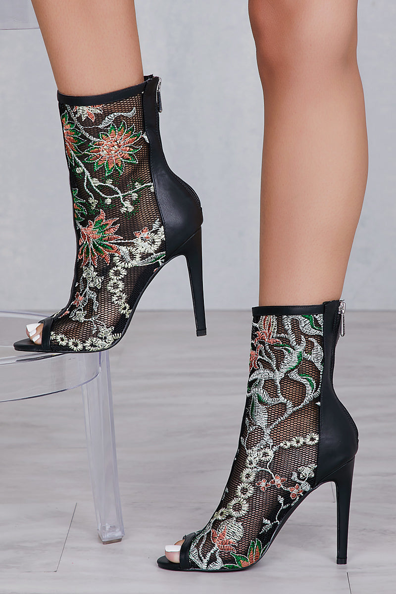 Floral Embroidery Bootie- FINAL SALE