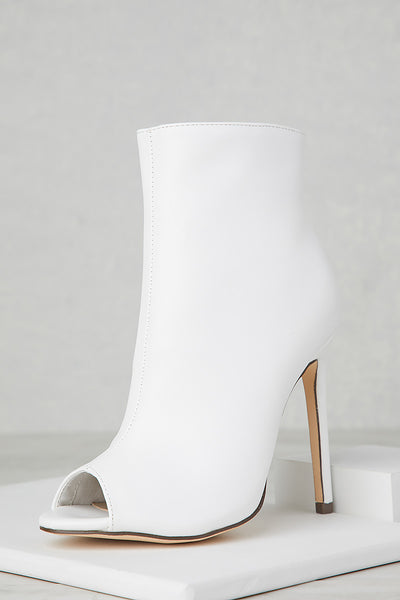 Peep Toe Booties (White)