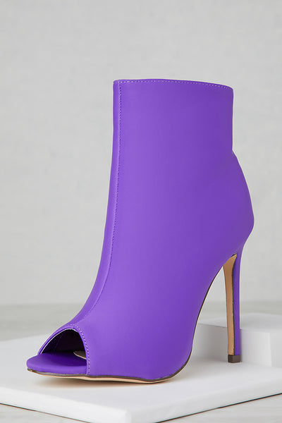 Peep Toe Booties (Purple)
