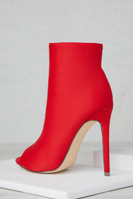 Peep Toe Booties (Red)