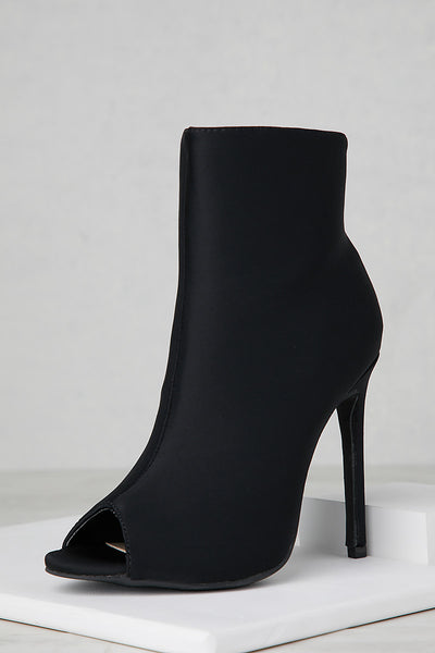 Peep Toe Booties (Black)