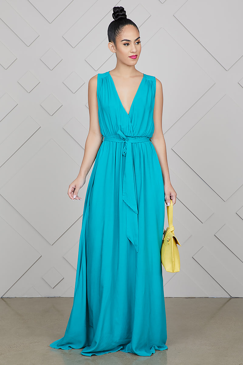 V-Neck Maxi Dress (Teal)