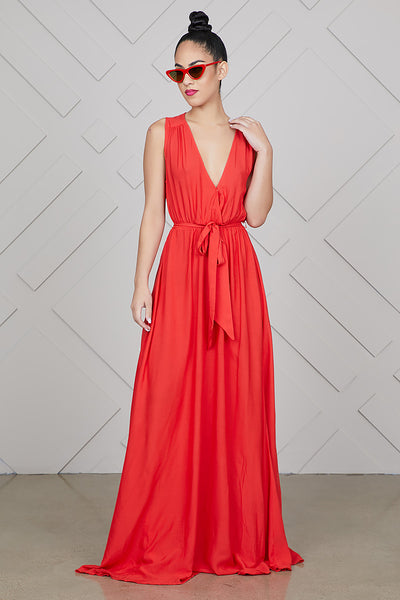 Sleeveless V-Neck Maxi Dress (Red)- FINAL SALE