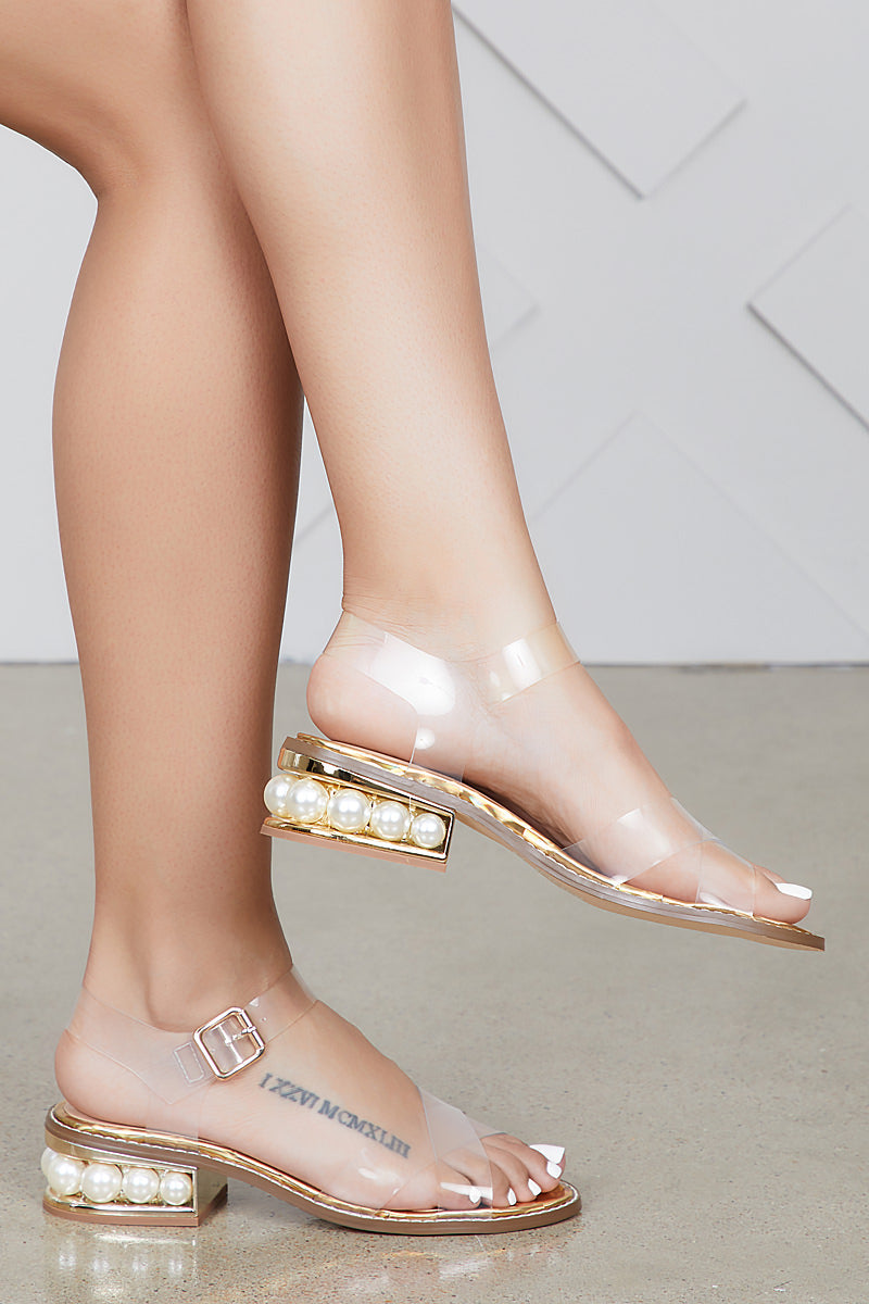 Angie Transparent Pearl Sandals