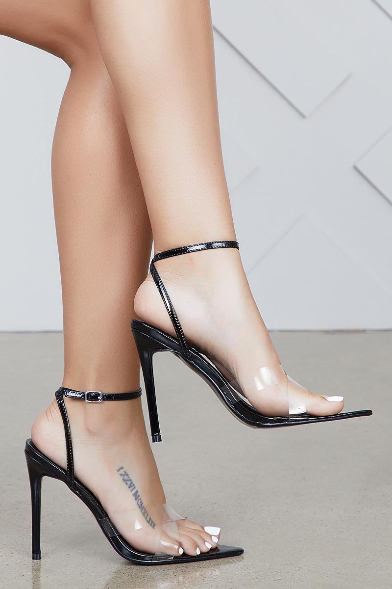 Double Cross Pointed Toe Heel (Black)- FINAL SALE