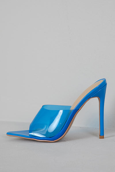 Mirage PVC Pointed Toe Mule (Blue)