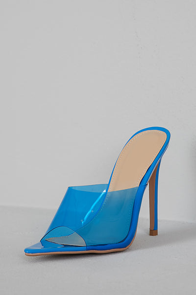 Mirage PVC Pointed Toe Mule (Blue)-FINAL SALE