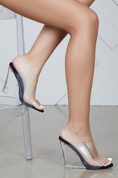 Transparent Wedge Heels (Black)