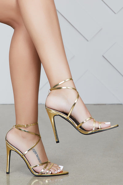 Jazz Pointed Toe Strappy Heel (Gold)