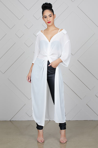Sheer Cold Shoulder Blouse (White)