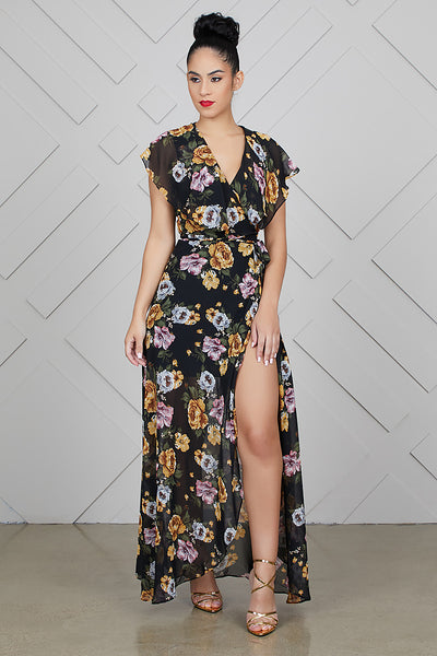 High Split Dark Floral Wrap Dress