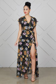 High Split Dark Floral Wrap Dress- FINAL SALE