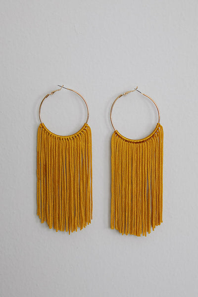 Shake Em' Fringe Earrings (Mustard)