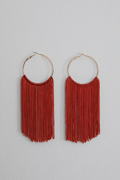 Shake Em' Fringe Earrings (Burnt Orange)