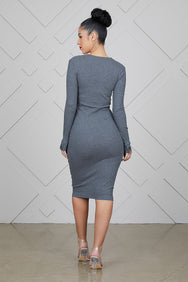 Fitted Knitted Dress (Grey)