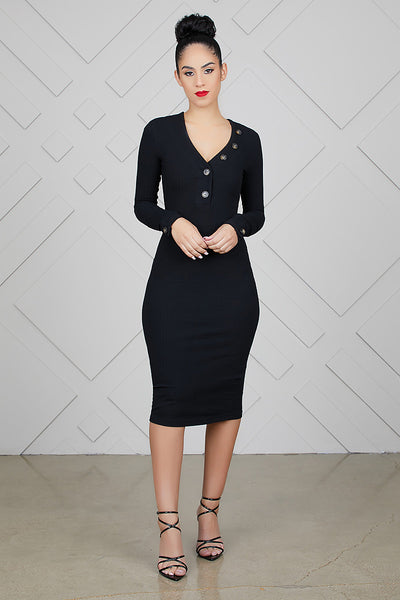 Fitted Knitted Dress (Black)