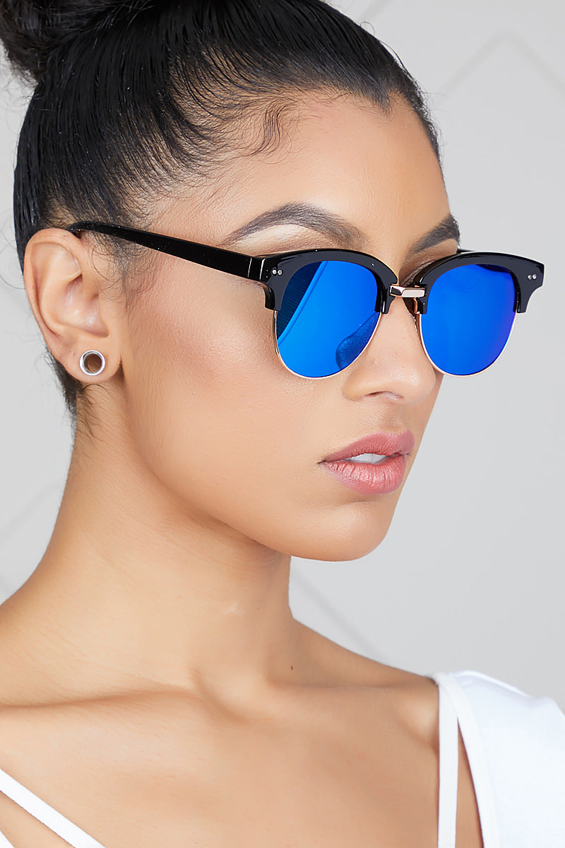 Clubmaster Mirrored Sunglasses (Blue)