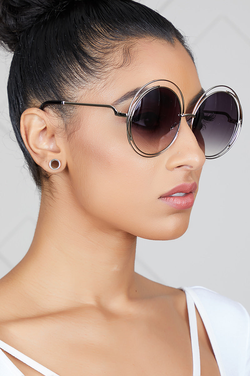 Oversized Round Sunglasses (Black/Silver)