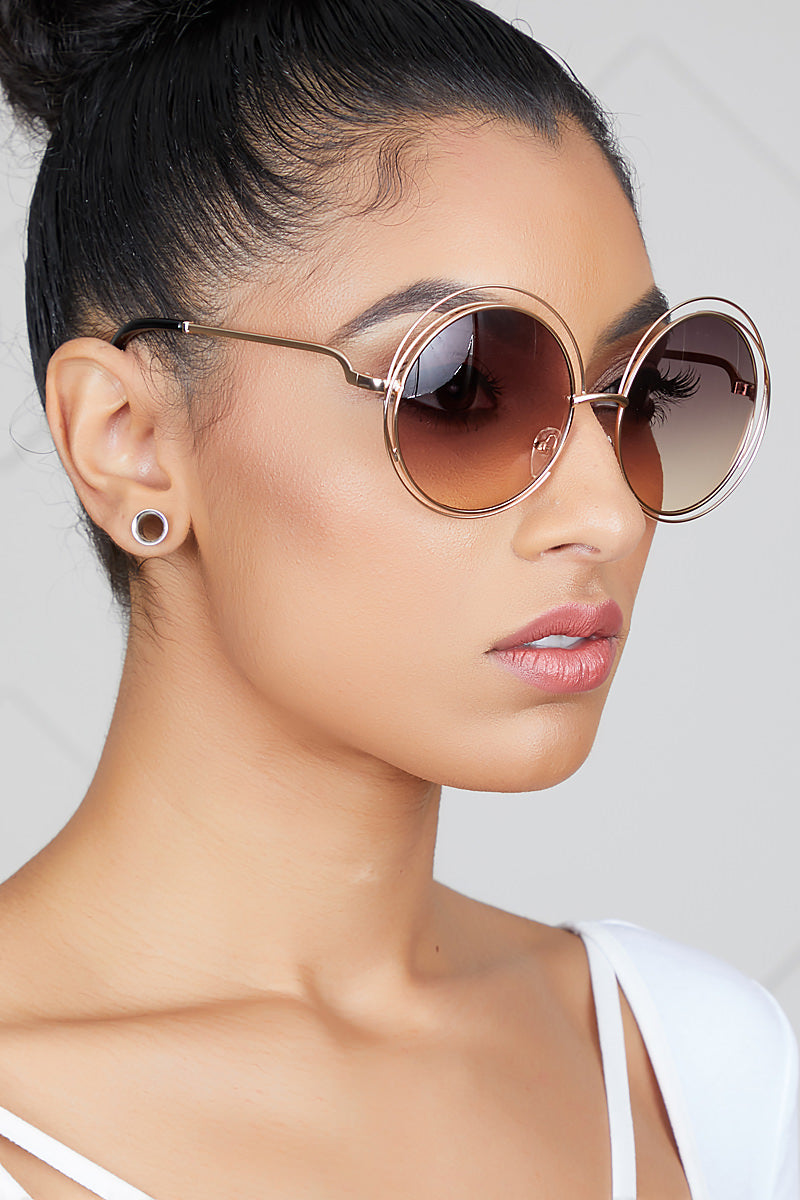 Small Oversized Round Sunglasses (Brown/Gold)