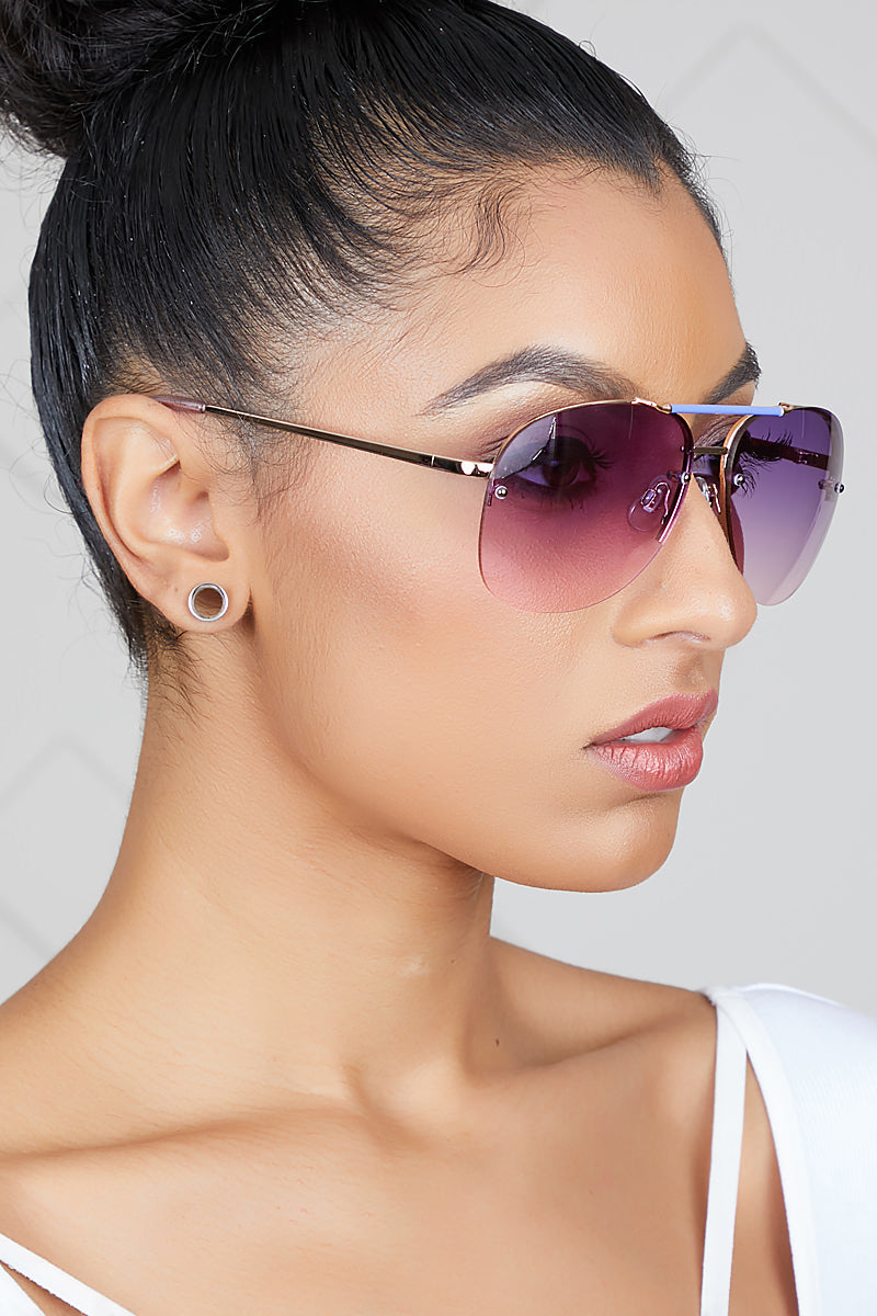 Aviator Gradient Sunglasses (Purple/Pink)