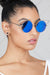 Retro Round Lens Cat Eye Sunglasses (Blue/Silver)