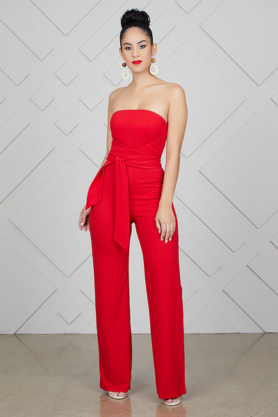 Sweetheart Strapless Jumpsuit (Red)