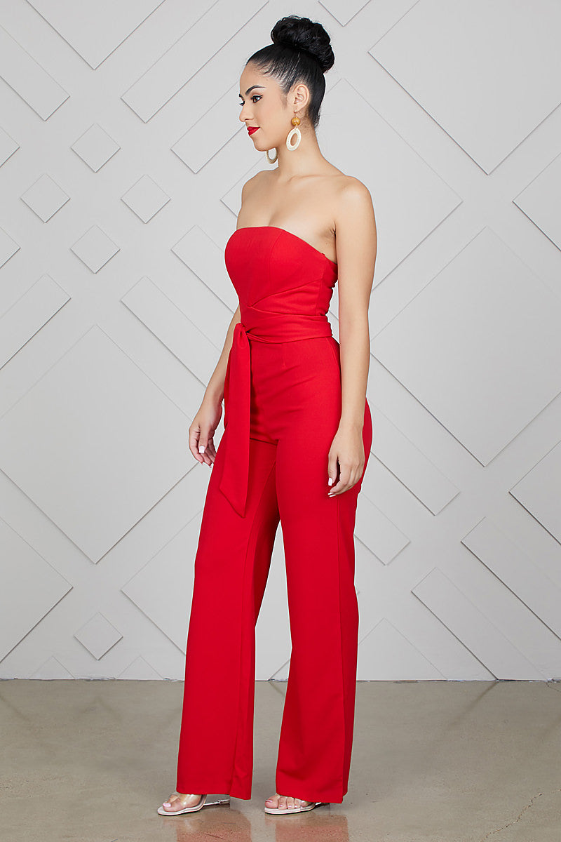 Sweetheart Strapless Jumpsuit (Red)- FINAL SALE