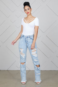 Super Distressed High Waist Jeans