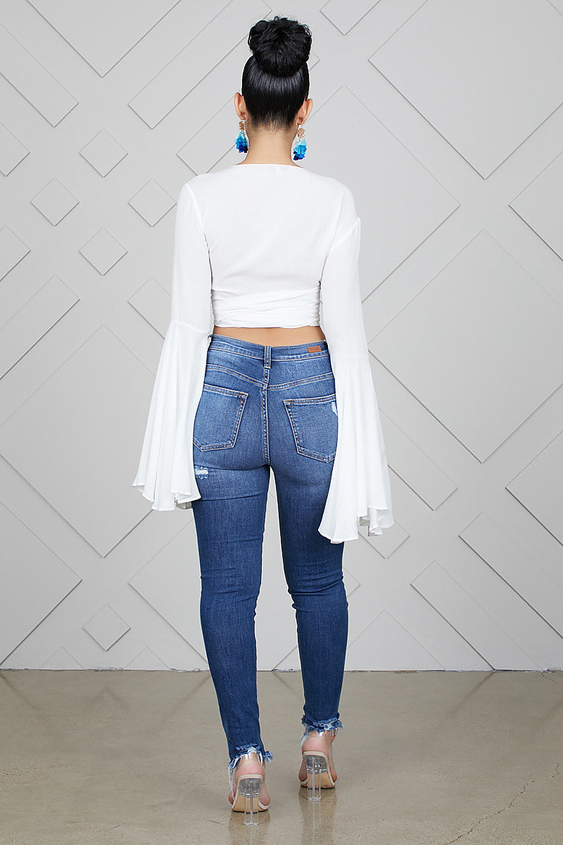 Bell Sleeve Top (White)